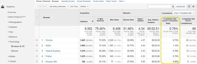 Google Analytics browser report