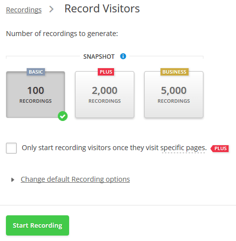 hotjar record visitors setup